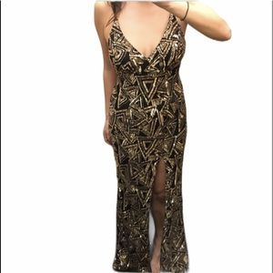 Black & gold-sequined gown with side split Medium